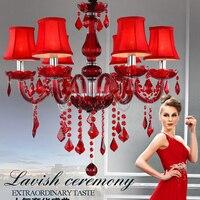 Fashion Luxury Europe Modern Chandelier Lighting Red Glass Modern Lustre Crystal Chandelier Light Red Crystal Lighting