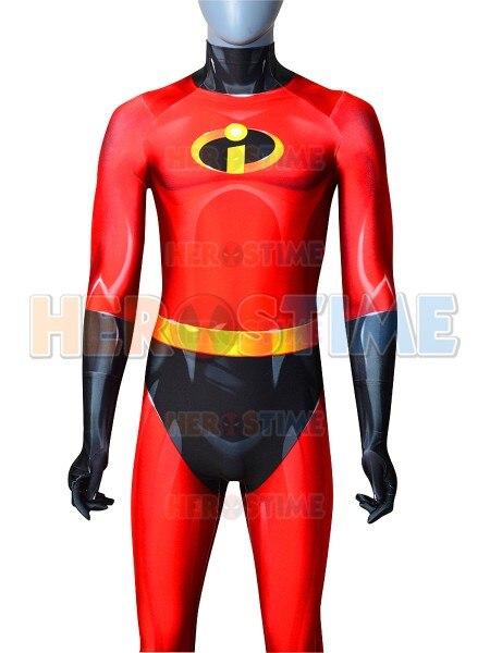 The Incredibles Mr Incredible Superhero Costume 3D Print Spandex Mr Incredible Superhero Costume Zentai Bodysuit for Halloween