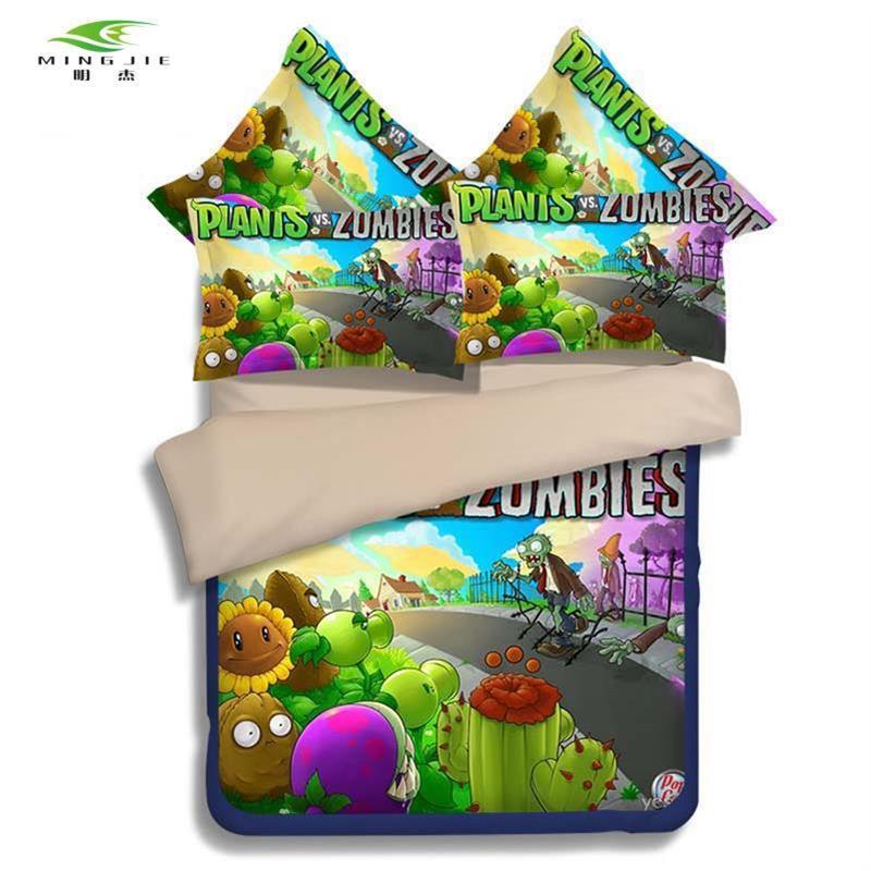 MING JIE 2017 3D 애니메이션 소년 침구 세트 식물 vs 좀비 어린이 침대 트윈 전체 퀸 사이즈 2/3 개 둘러 앉아 베개 케이스 뜨거운 판매