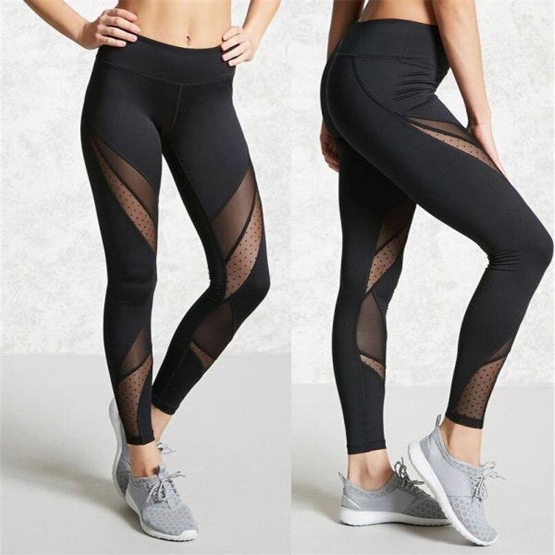 Women Hight Waist Fitness Leggings Running Gym Stretch Sports Pants Trouser Leggings Girl Mumeijiao Black 2018 High Quality