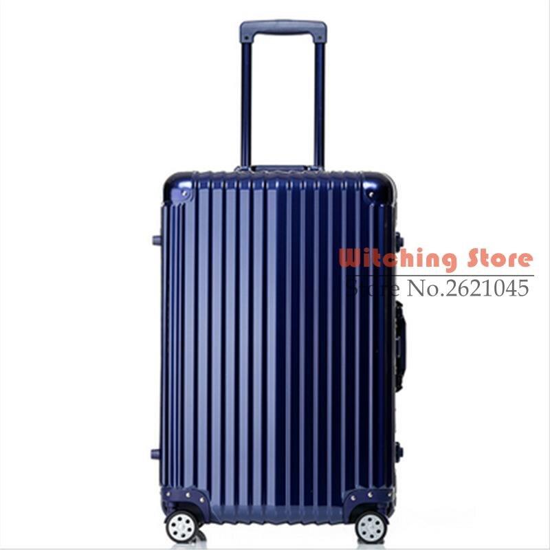 24 INCH  20242629# Pure fashion wear waterproof universal wheel aluminum box checked luggage suitcase #EC FREE SHIPPING 24 inch 20242629 direct aluminum frame rod universal wheel luggage suitcase board box bags and one generation ec