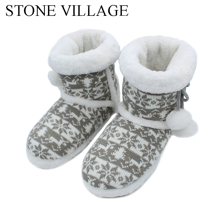 2017 New Knit Wool Soft  Warm Winter Plush Slippers Soft Mute Home Slippers Cute Ball Women Slippers High Quality Indoor Shoes soft plush big feet pattern winter slippers