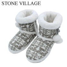 2017 New Knit Wool Soft  Warm Winter Plush Slippers Soft Mute Home Slippers Cute Ball Women Slippers High Quality Indoor Shoes