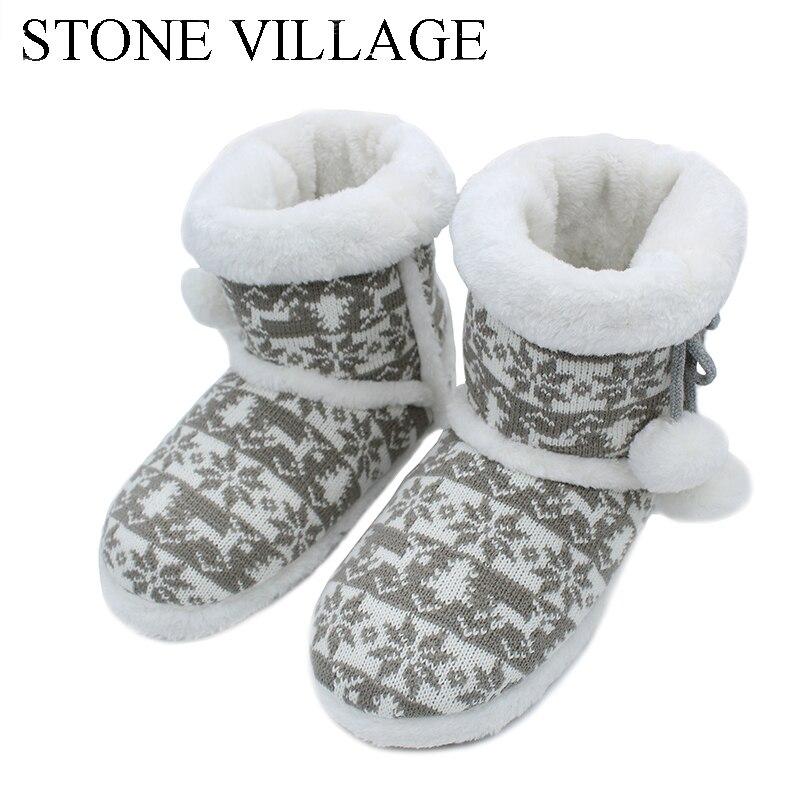 2018 nuevo de punto de lana de invierno cálido suave de la felpa zapatillas de mudo Zapatillas de casa lindo bola zapatillas de mujer de alta calidad interior zapatos