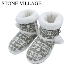 Winter Plush Slippers Women Knit Wool Home Slippers Soft Warm Cute Ball Women Slippers High Quality