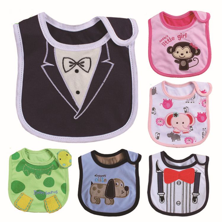 New Cartoon Pattern 3 Layer Baby Girl Boy Waterproof Towel Saliva KidsToddler Lunch Dinner Bibs Burp Cloths Free Shipping