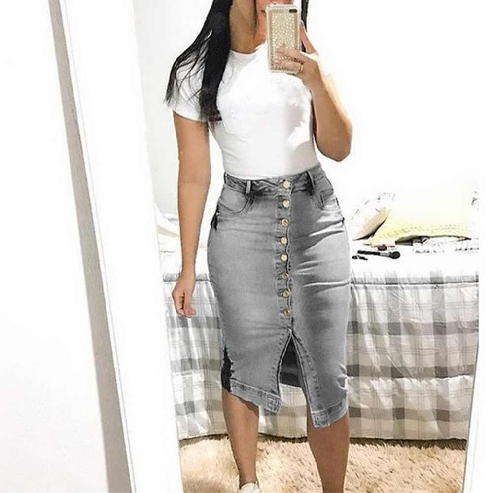 Джинсовая юбка с разрезом спереди и пуговицами, с накладной карман, женская повседневная юбка с высокой талией, женские юбки-карандаш, весенне-летняя Однотонная юбка миди