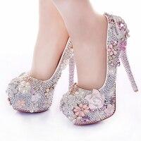 Горный хрусталь цветок Свадебная обувь розового цвета каблук-стилет 14 см Кристалл 2017 выпускного бала обувь для подружки невесты для Свадеб...