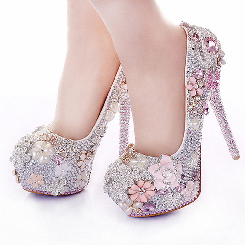 Rhinestone Flower Pink Wedding Shoes Stiletto Heel 14cm