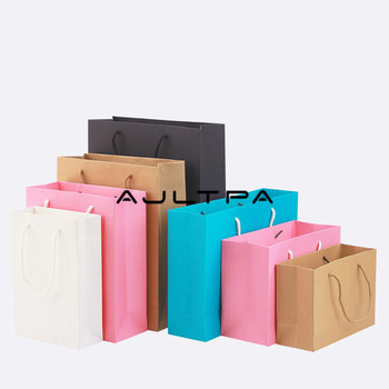 200pcs/lot Colorful  High Quality Simple Paper Gift Bag Kraft Paper Candy bag With Handle Wedding Birthday Party Gift Package