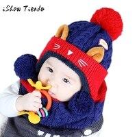 Popular And Flexible Cap Baby Boys Girls Infantil Children Cat Pattern Acrylic Fabric Knit Venonat Scarf