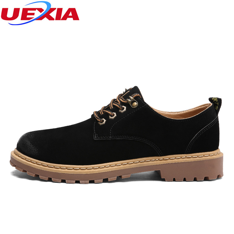 UEXIA Fashion Sewing Handmade High-top Round Men Flats Ankle High Quality Men's Shoes Microfiber Faux Suede Leather Retro Male uexia leather casual shoes men fashion wedding retro oxfords breathable black high top lace up high quality flats male moccasins