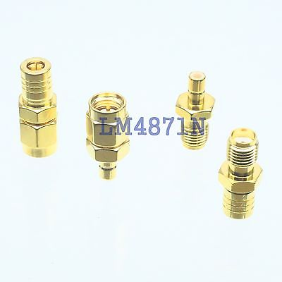Kit Adapter 4pcs/set SMB to SMA type male female RF connector Test converter adapter sma plug male to 2 sma jack female t type rf connector triple 1m2f brass gold plating vc657 p0 5