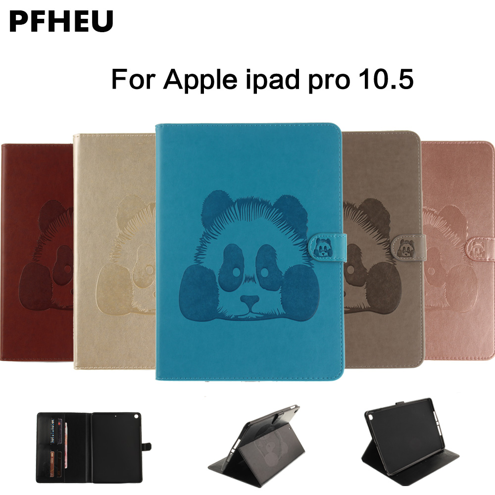2017New Case For Apple iPad pro 10.5  Tablet Smart Cover Panda PU Leather Flip Stand Cases For New ipad 2017 Sleeve for apple ipad pro 12 9 2017 case fashion retro pu leather cases for ipad pro new 12 9 2017 tablet smart cover case pen