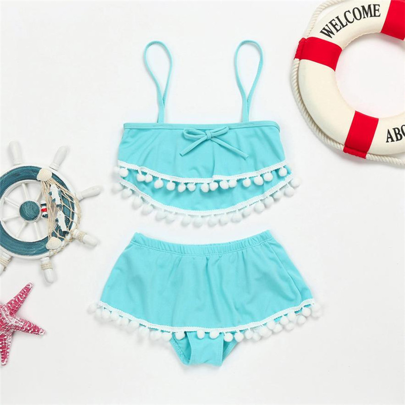 wholesale drop shipping Toddler Kids Baby Girls Tassel Ball Straps Shorts Swimsuits Bathing Suits Sets Fashion S3JUN6
