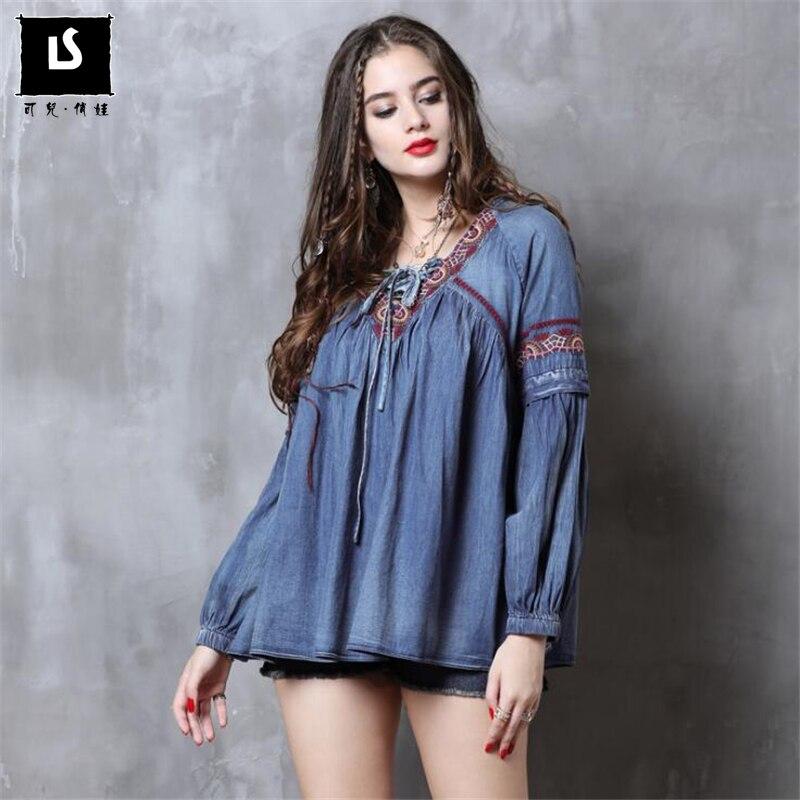 2018 automne mode Vintage brodé sangles v-cou femmes Blouse lanterne manches denim dessus de chemise décontracté bureau dame Blusas