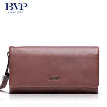 BVP High Quality Soft Leather Clamshell Flap Pocket Handbag High-end Men Top Genuine Leather Wrist Day Clutch Bag Organizer Bag