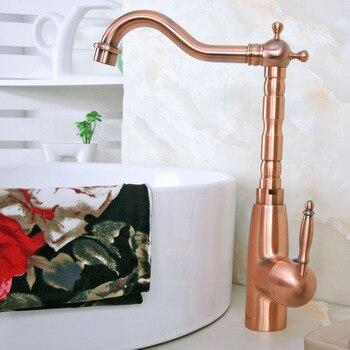 Manija de una sola palanca de cobre rojo antiguo para baño, lavabo, lavabo, grifo mezclador, grifo giratorio, cubierta montada mnf636