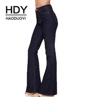 HDY Haoduoyi High Waist Vintage Wide Leg Pants 2018 New Arrival Sexy Zipper Botton Slim Loose Sexy Elegant Jeans For Women