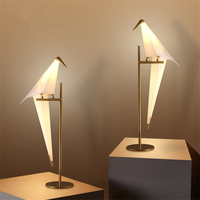 Bird Paper Floor Lamp Bedroom Studio Living Room Lamp Stand Origami Light Study Bedside Reading Table Gold Led Stand Lamp