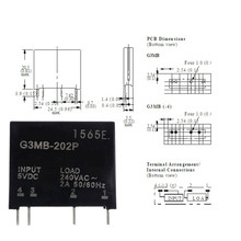 Smart Electronique Nouvel Original Solid State Relais G3MB-202P DC-AC PCB SSR Dans 5VDC, Sur 240 v AC 2A(China)
