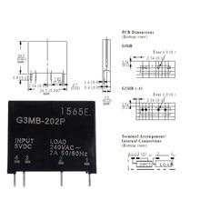 Smart Electronique Nouvel Original Solid State Relais G3MB-202P DC-AC PCB SSR Dans 5VDC, Sur 240 v AC 2A(China)