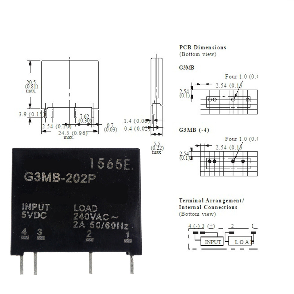 Smart Electronics New Original Solid State Relay G3MB-202P DC-AC PCB SSR In 5VDC,Out 240V AC 2A