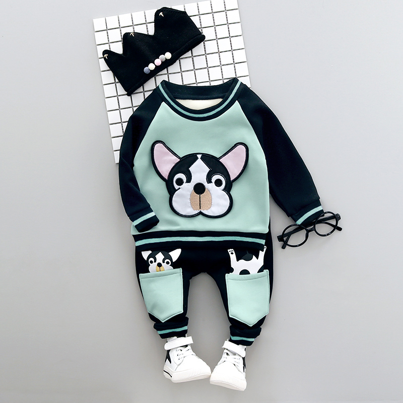 Boys Clothing Set Winter 0-3y New 2018 Fashion Style Cotton O-Neck full Sleeve with Dog Print Baby Boy Clothes A008 round neck long sleeve 3d coins print sweatshirt