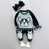 Erkek Giyim Seti Kış 0-3y Yeni 2017 Moda Stil Pamuk O-Boyun tam Kollu Köpek Baskı Erkek Bebek Giysileri ile A008