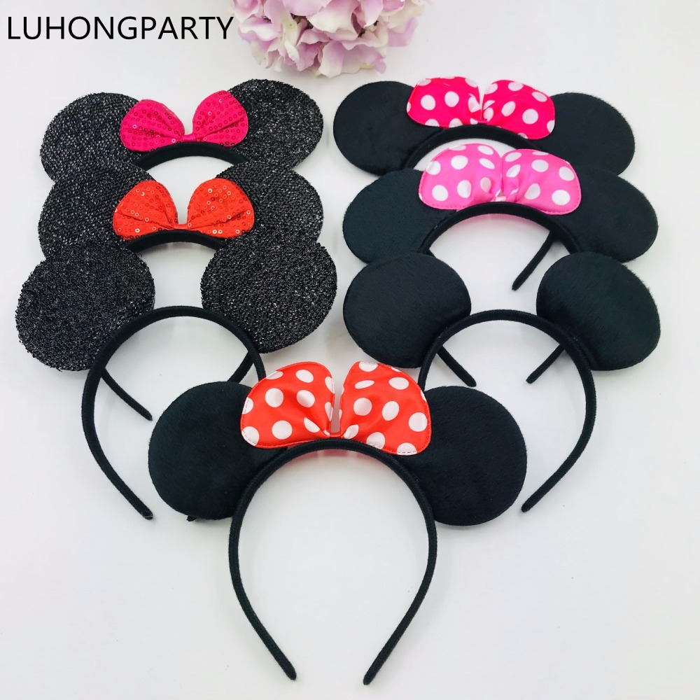 Clothing & Accessories For Plush Stuff Disney Accessories Cartoon Mickey Mouse Ears Mickey Minnie Bow-knot Headband Party Girl Children Hair Accessories Birthday Gifts