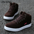 LIN KING Fashion Men Canvas Shoes Solid Lace Up High Top Korean Style Casual Shoes Outdoor Walking Cotton Autumn Shoes