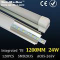 T8 integrated  led tube 1200MM 24W,AC85-265V,1600LM,SMD2835,120Led chips/pcs, 20PCS/Lot, Warranty 2 years,SMTB-1-12B