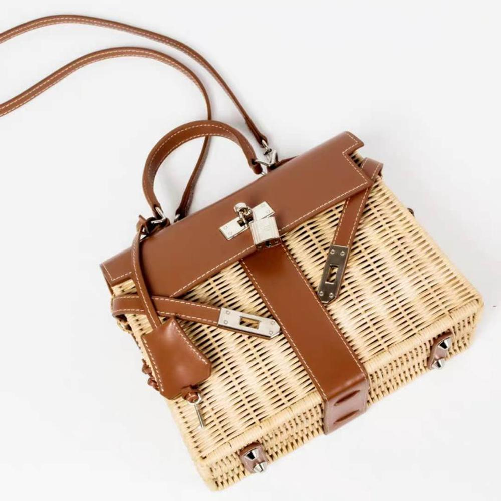 Women 39 s handbag luxury rattan Messenger bag PU handmade rattan weaving 2019 summer beach bags for women sac main in Clutches from Luggage amp Bags