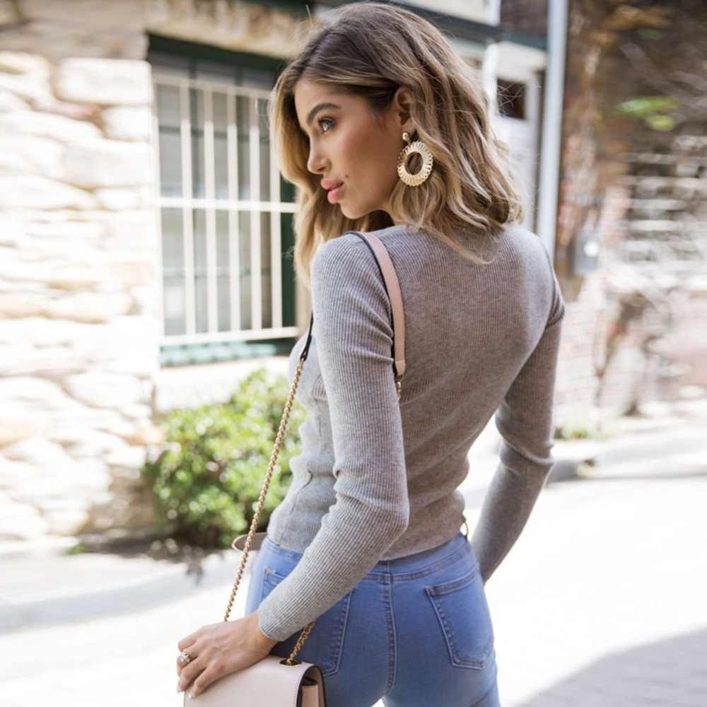 67b42cf484415 Sharvell Women Spring Deep V-Neck Sweater Ruched Twisted Jumper Fashion  Sweater Slim Long Sleeve Solid Inside Pullover Sweater