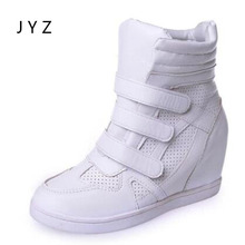 2018 New Fashion Womens Ankle Boots Casual Wedges Shoes Autumn Spring Shoe Lady White wo180829