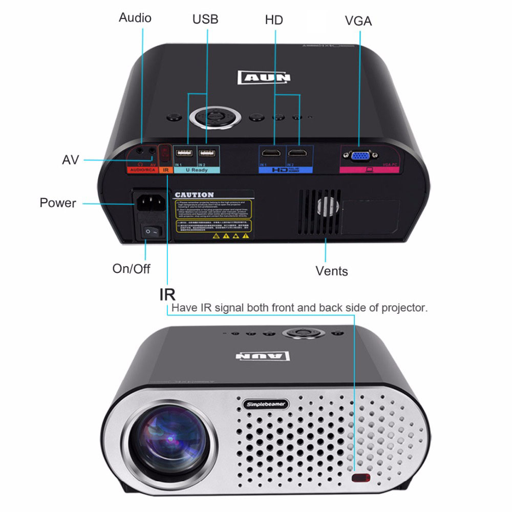 AUN Projector 3200 Lumen T90, 1280*768 (Optional Android Projector with 2.4G Air Mouse, Bluetooth WIFI, Support AC3) LED TV
