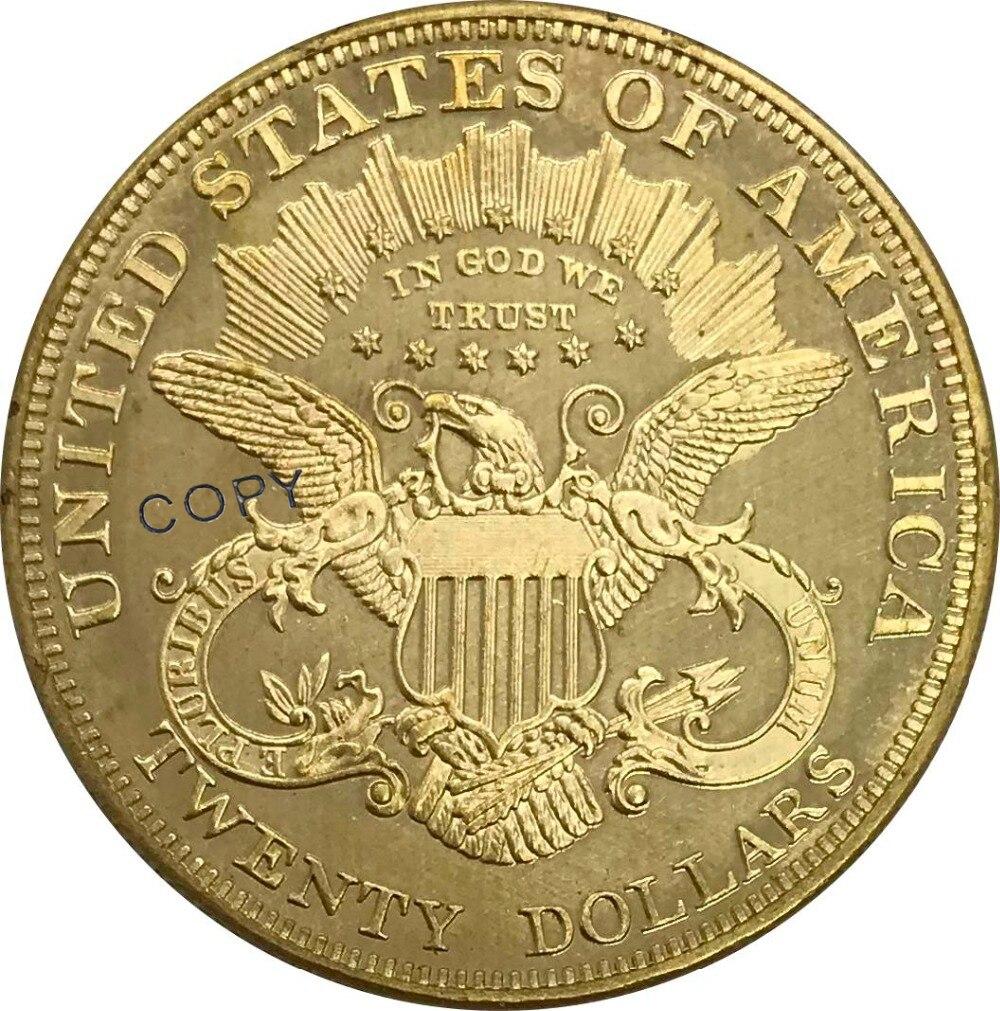 Коллекционные монеты 1898 года в США, 20 дюймов, 20 долларов, голова свободы, двойной Орлан с девизом, золотая монета, латунь, копия