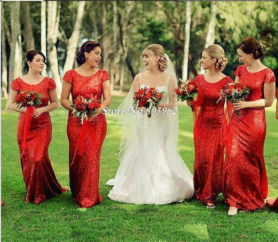 Red Long Bridesmaid Dresses Sheath Sequins Gowns 2017 With Short Sleeves Maid Of Honor For Wedding In From Weddings