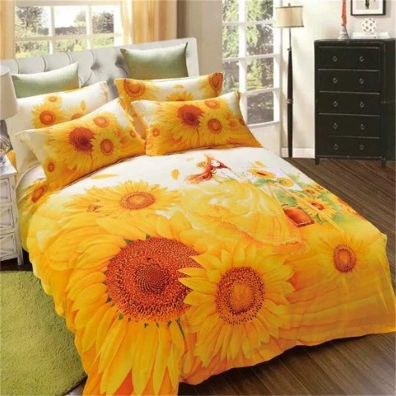 Yellow Floral Sunflowers Bedding Set Queen King Size 100% Cotton Fabric Printed Duvet Cover Bed Sheets Pillowcase Bed in a Bag