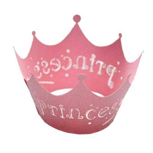 Uesh-princesse couronne Design Style papier vigne dentelle tasse papier d'emballage de gâteau fête anniversaire décoration 12 pièces