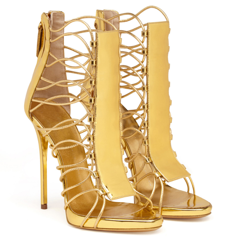 ФОТО 2017 Summer Open Toe Cut outs boots Shoes Women High Heels sandals Gold Stilettos heels ladies botines mujer US Size 5-15