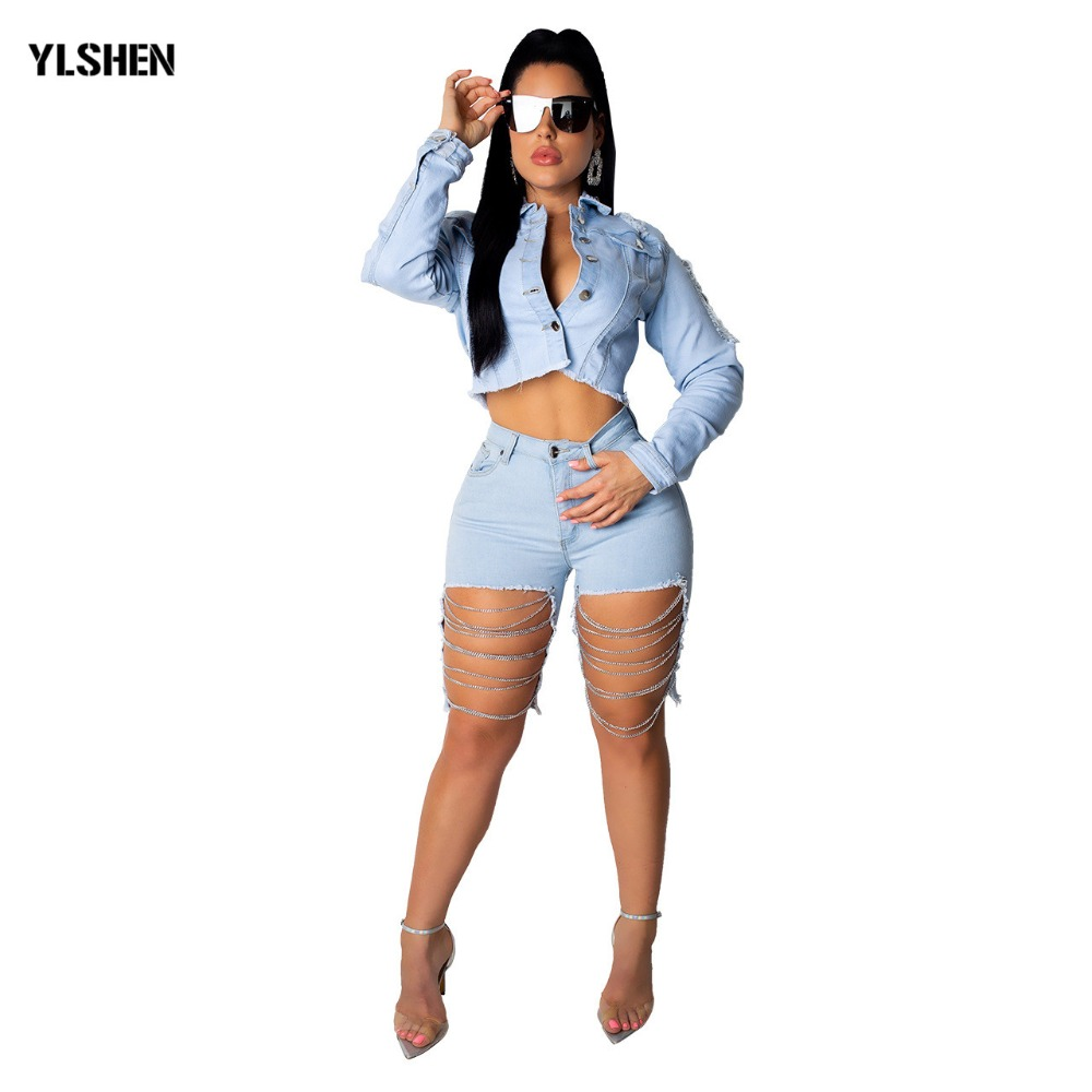 2019 Sexy Plus Size Women Denim Shorts Summer Fashion Hole Knee Length Short Pants Tassel Splicing Mini Booty Shorts Outfits