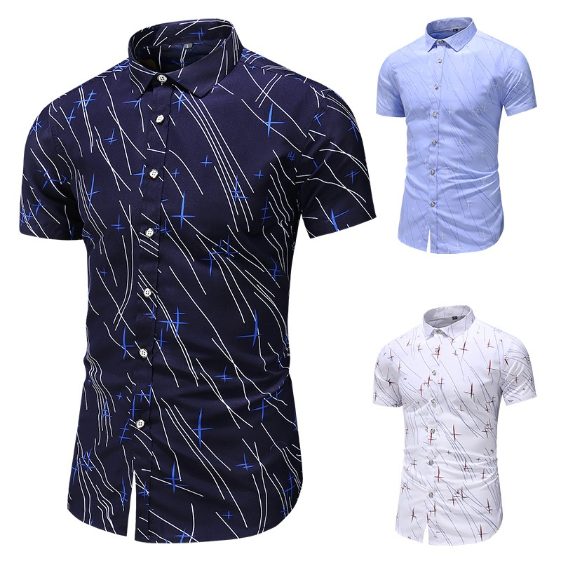New Style Hot Sales men shirt Men's Print Button Turn-Down Collar Slim Fit Short Sleeve Shirt Top Blouse 2020 sales