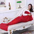 Mermaid blanket of knitting mermaid tail winter blanket children sofa mat