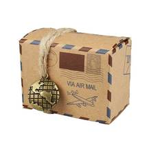 100 PCS Holiday Candy Gift Boxes Kraft Retro Post Mail Style  Paper Xmas Goody Bags Party Favors for Wedding