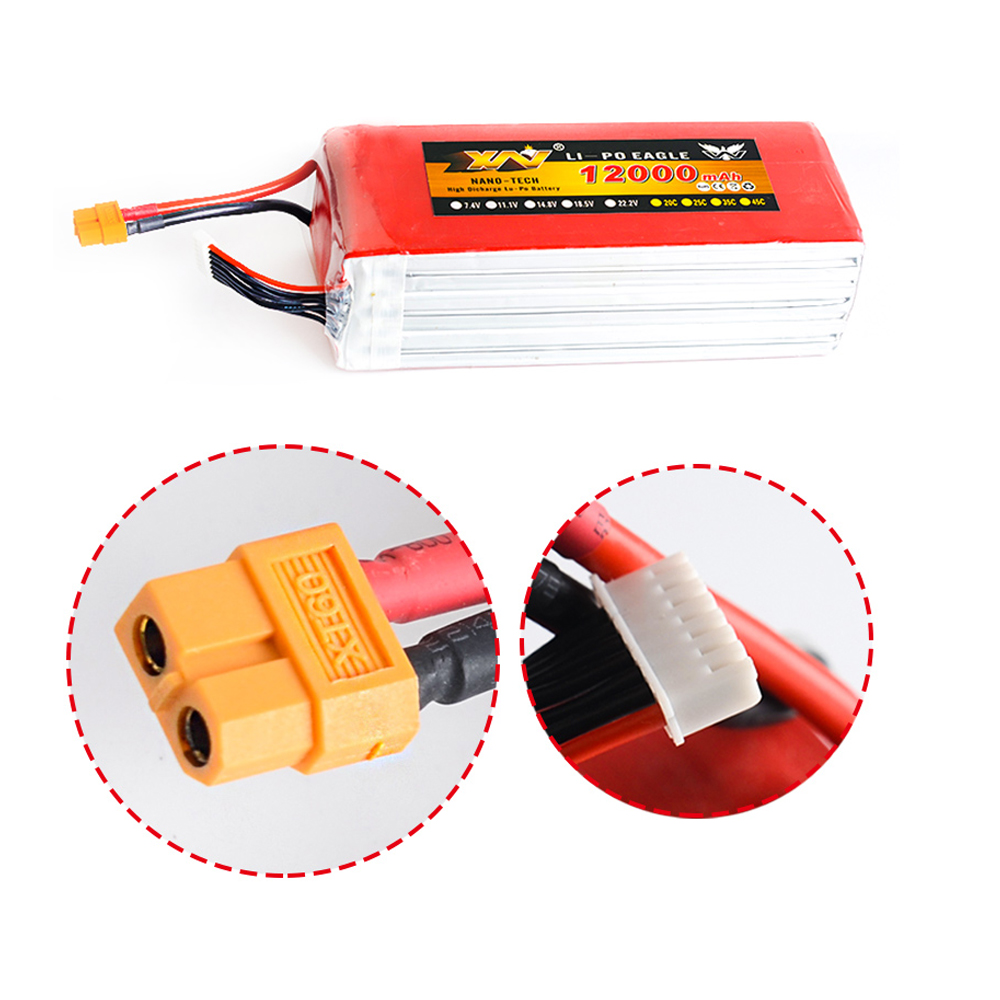 1pcs Rc <font><b>Lipo</b></font> Battery 7.4V 11.1V 14.8V 22.2V <font><b>12000MAH</b></font> 25C XT60 Plug For Rc Multicopter Drone UAV FPV Quadcopter 2s/<font><b>3s</b></font>/4s/6s image