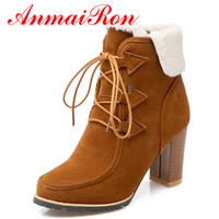ANMAIRON Lace up High Heels Round Toe Ankle Boots for Women Winter Boots Fashion Light tan Shoes Woman Large Size 34 42 Riding