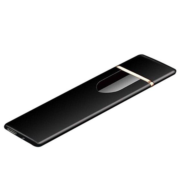 Encendedor de carga táctil de inducción a prueba de viento electrónico USB ultradelgado encendedor de cigarrillos Metal personalizado