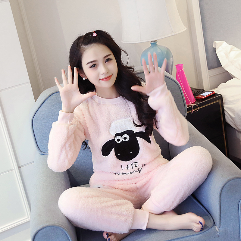 Womens   Pajamas     Sets   2018 long Sleeve Flannel Winter Fashion NightWear Leisure Home Cloth woman warm pyjama Girl Sleepwear   Set