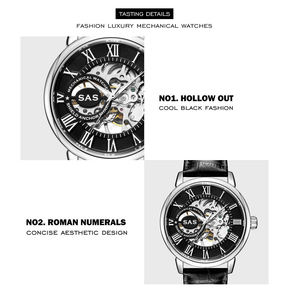 SAS מותג גברים מכאני שעונים עמיד למים ספורט עור שעון שלד Mens נשים עסקי שעון יד שעון relogio masculino